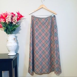VTG PENDLETON Classic Tan Plaid Wool Maxi Skirt